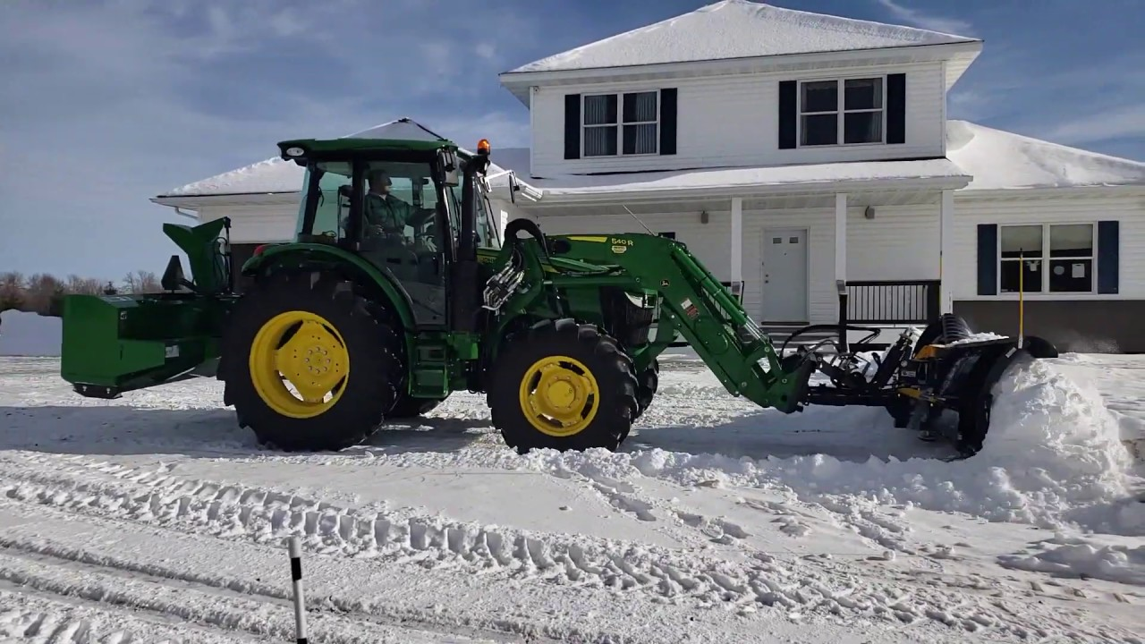 John Deere 5090r Snow Plowing, Sno-Way V Plow on ice to snow