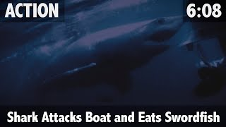 Mako Shark attacks boat and eats 700lb Swordfish - ULTIMATE FISHING TV(While Matt is out helping his mate Jeff catch his first sword fish, A mako shark decides that Matt's boat is competing for its dinner. Please subscribe to our ..., 2015-11-25T21:32:31.000Z)