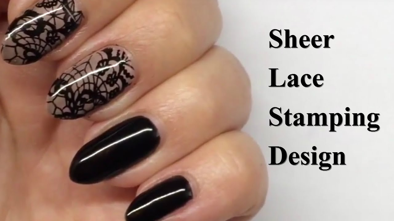 Black Lace Stamping Design - Nail Art Tutorial - YouTube