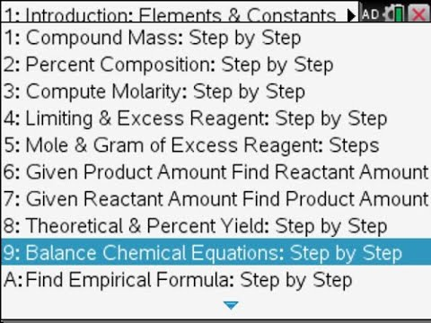 Step by Step Chemistry on the TI Nspire CAS CX