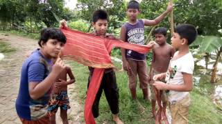 Making of Banana Boat by local kids: কলার ভেলা তৈরির উপায়