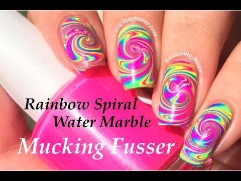 rainbow spiral water marble nail