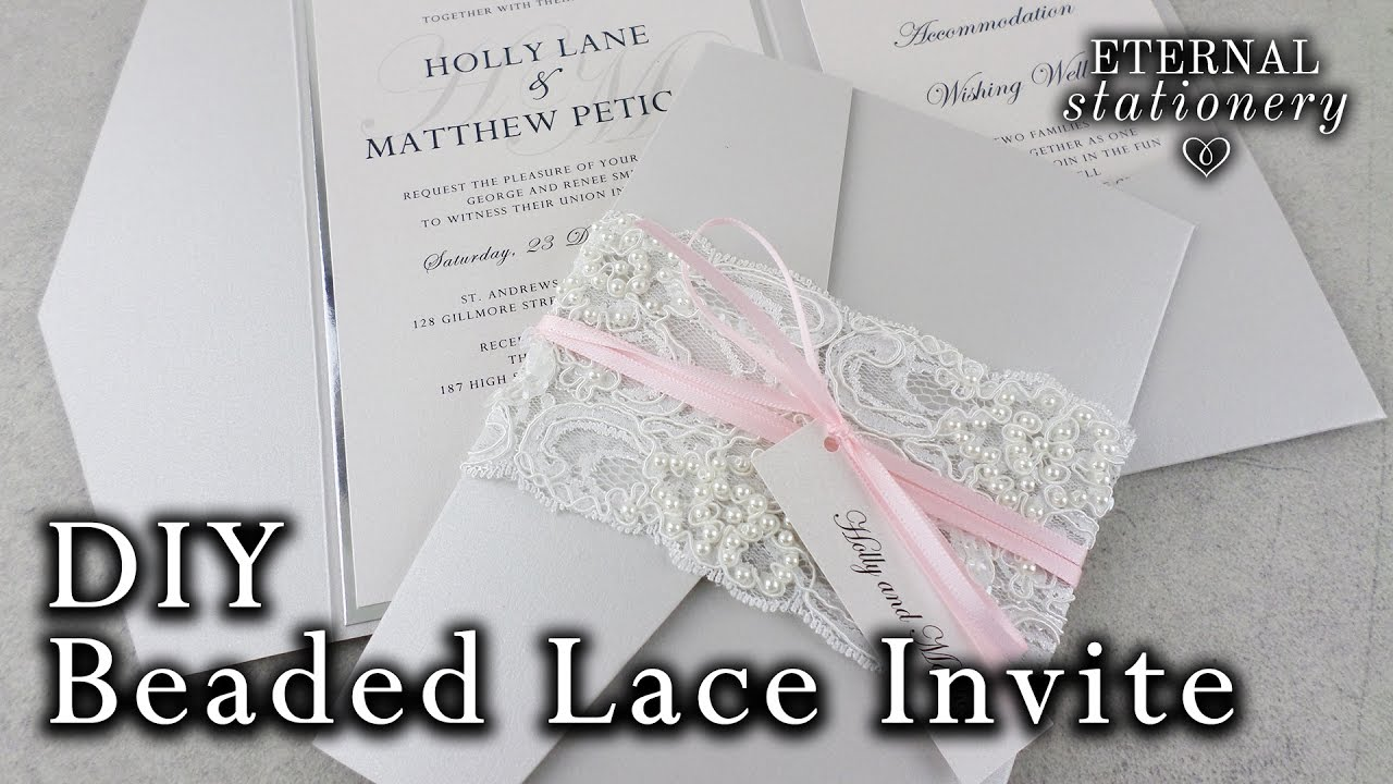 Diy Wedding Invitations Ribbon How To Make A Beaded Lace Pocket Invitation Diy Wedding Invitations Lace Belly Band