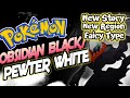 Pokemon Obsidian Black/Pewter White - GBA Game With Fairy Types,New Story+Region!
