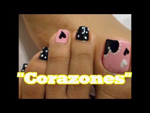 Corazones decoraci n de u as para los pies heart easy for Decoracion unas pies