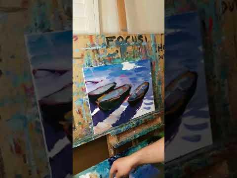 Three Row Boats Sea Shore Water Impressionism Oil Painting , Artist JOSE TRUJILLO