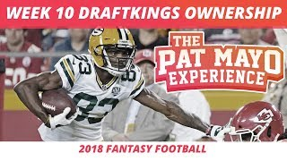 2018 Fantasy Football — Week 10 DraftKings Ownership Projections, GPP Pivots & Updated Spreads