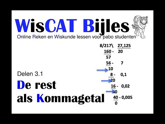 Rest als Kommagetal - WisCAT Werkboek: Delen 3.1