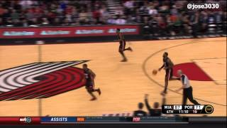LeBron James Blocks Raymond Felton From Behind - Heat @ Blazers 3/1/2012