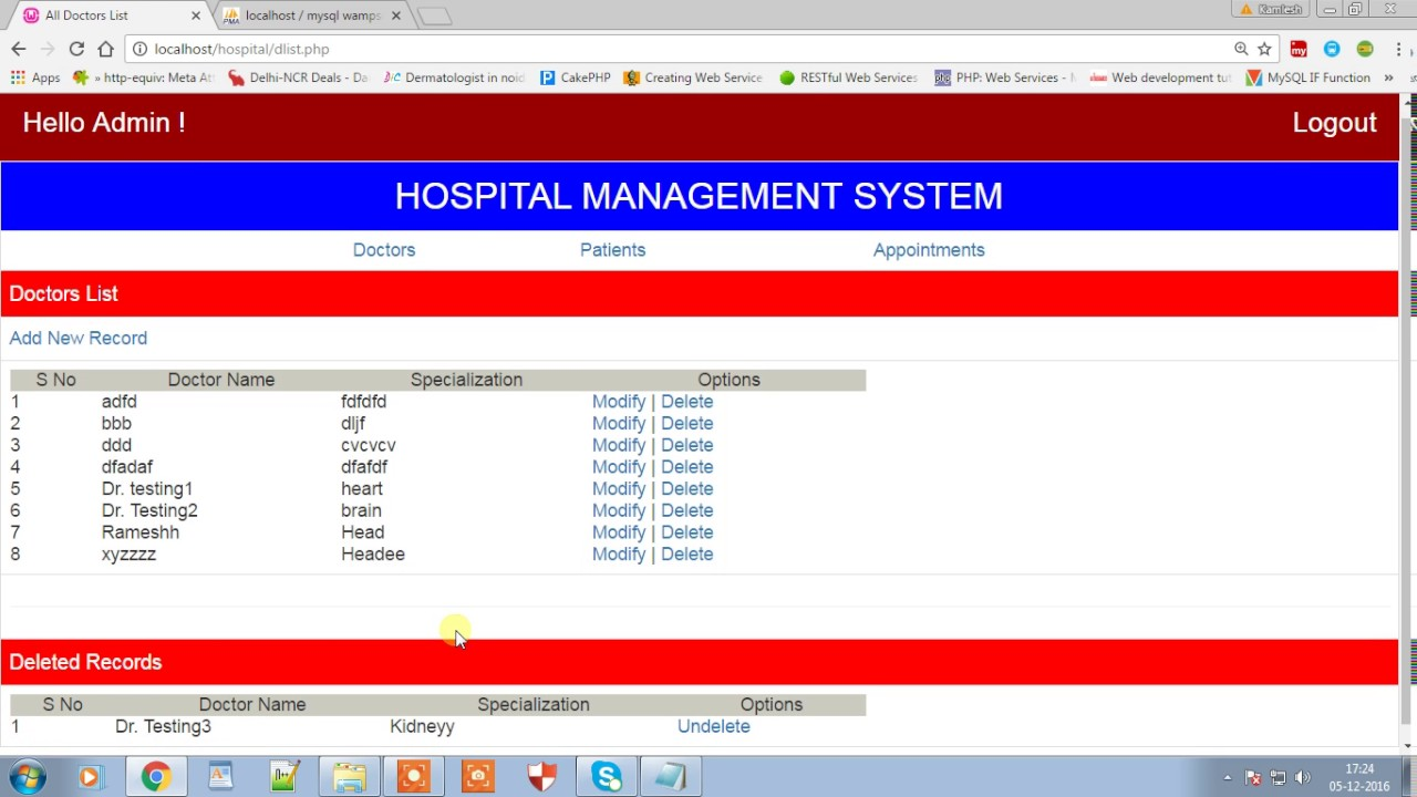 Download Hospital Management System - Phptpoint