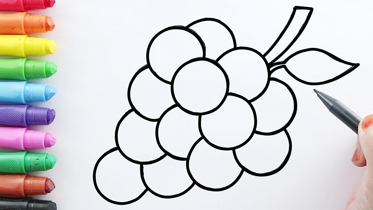Menggambar dan Mewarnai Buah Anggur dengan Crayon