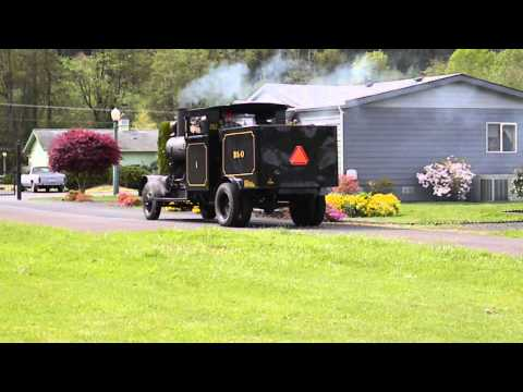 Road Steam Locomotive PC&O. Run By With Stack Talk