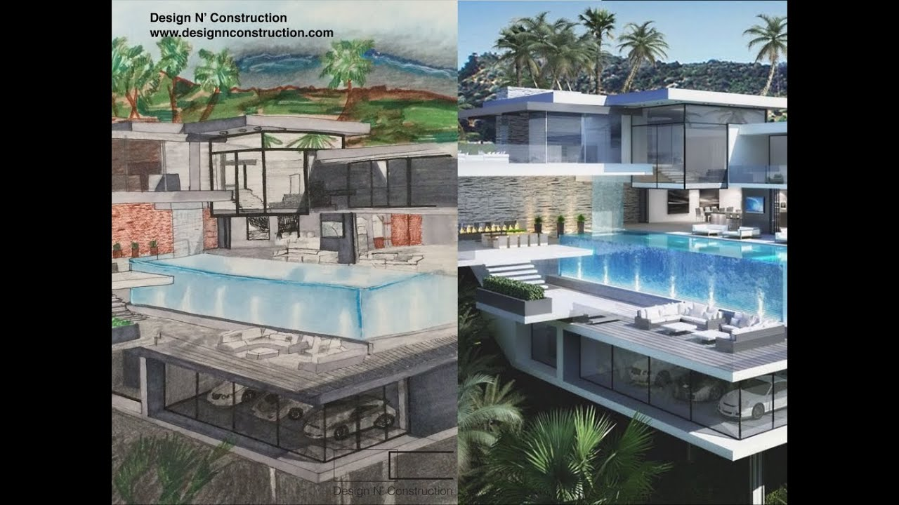 How to draw a modern house with pool tutorial