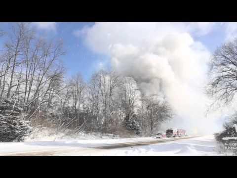 Fireworks explosion as semi burns on I-94