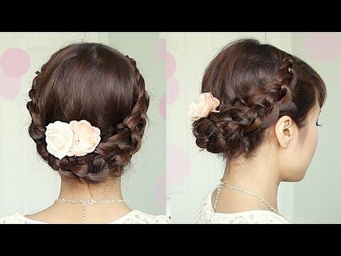 Crochet Braid Updo Hairstyle for Medium Long Hair