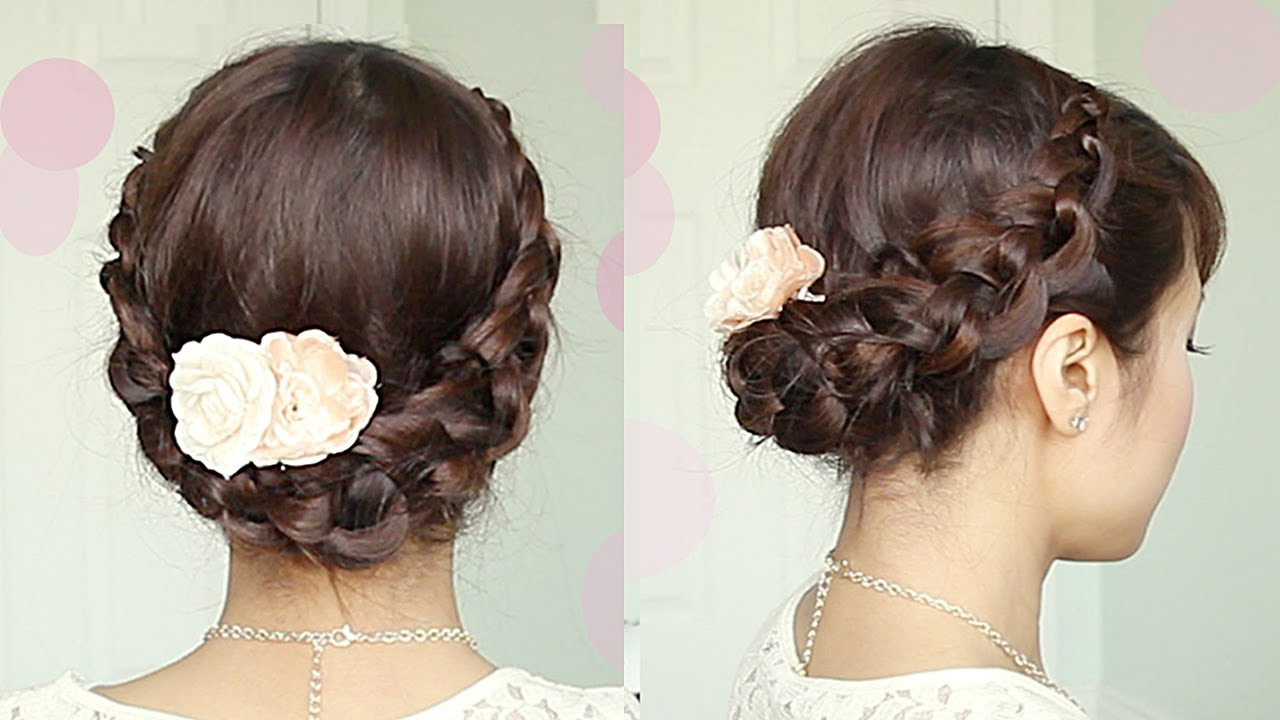 crochet braid updo hairstyle for medium long hair tutorial - bebexo