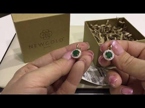 Серьги 766 из красного золота 585 пробы с изумрудами и бриллиантами