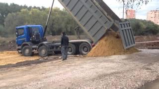 Доставка песка Тула(Доставка песка на объект для просыпки траншеи.Прокопка траншеи под канализацию от отстойника к коллектору..., 2015-11-13T08:43:30.000Z)