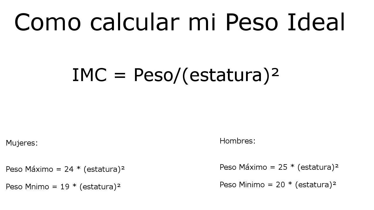 formula para calcular peso por altura