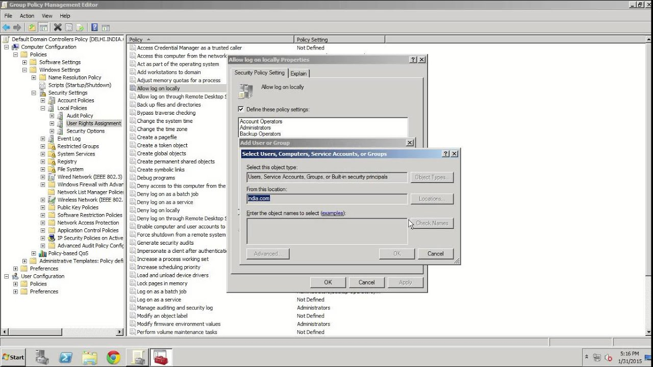 How to give logon locally to domain users in windows server 2008