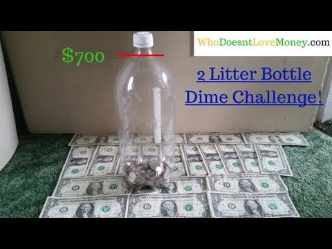 2 Litter Bottle Dime Challange - How To Save $700 With Just Dimes!
