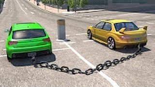 BeamNG drive Chained Cars against Bollard Part 1