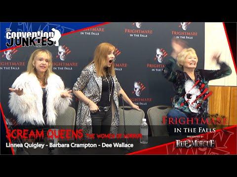 Scream Queens Linnea Quigley, Barbara Crampton, Dee Wallace  Frightmare in the Falls Horror Con 2019
