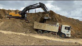 Best Volvo Excavators digging loading Shacman dump trucks