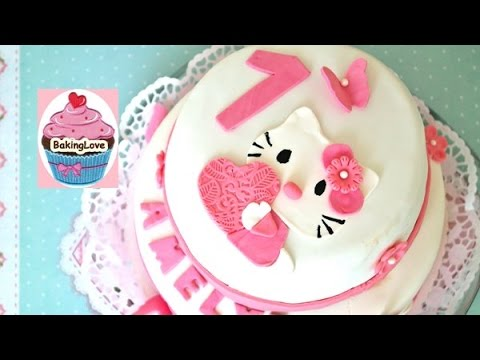 diy fondanttorte i motivtorte i hello kitty i 1 geburtstag i 2 st ckige torte youtube. Black Bedroom Furniture Sets. Home Design Ideas