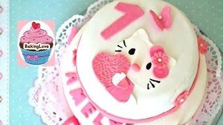 DIY Fondanttorte I Motivtorte I Hello Kitty I 1. Geburtstag I 2-Stöckige Torte