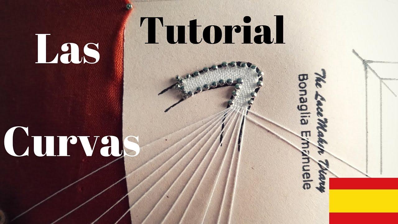 Tutoria Encaje de Bolillos - La curva con angulo - YouTube