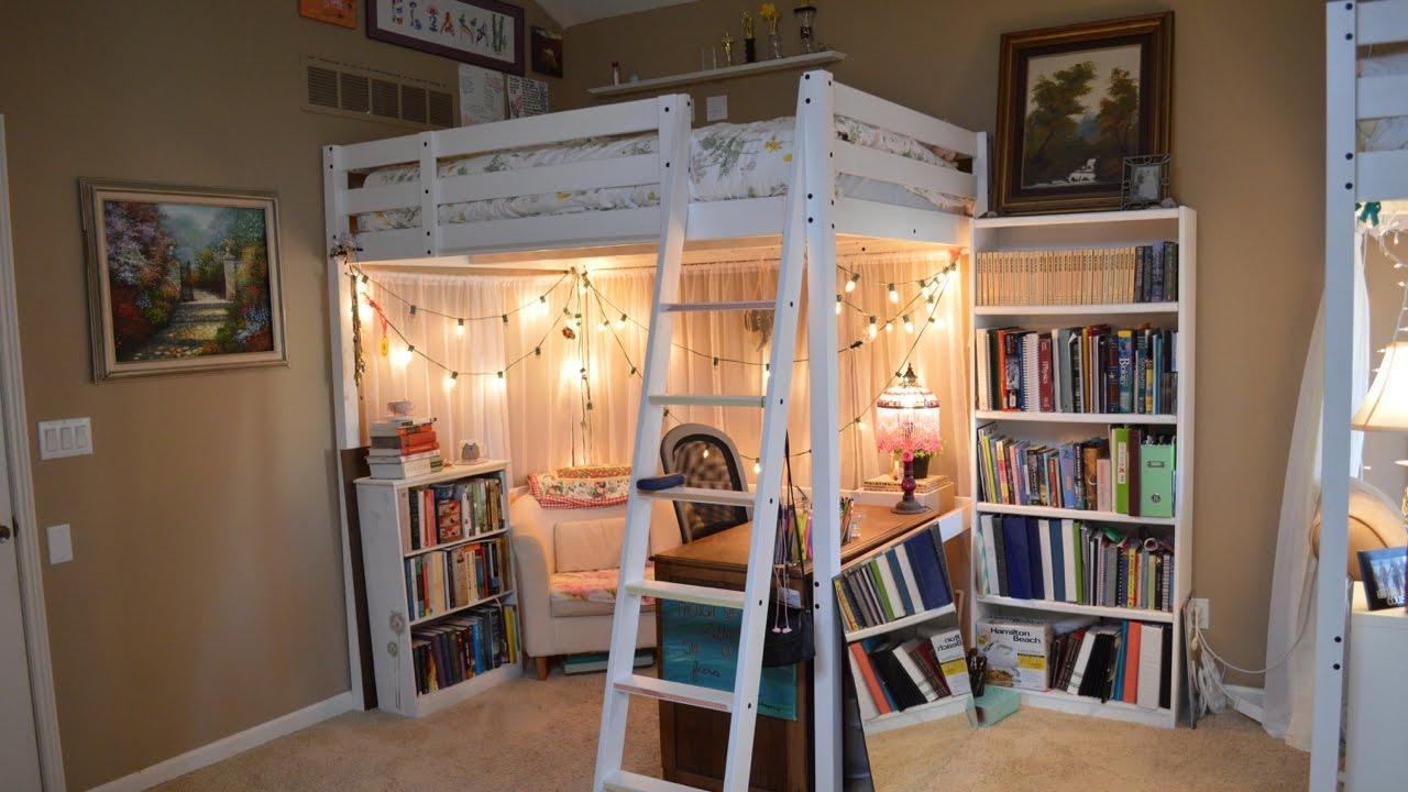 Ellie 39 s loft bed room tour updated three peas youtube for How to make a loft room