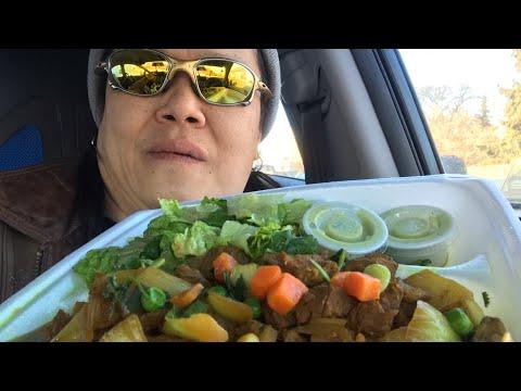 Somali Food (African Safari Restaurant)   Eating BEEF SUQAR (STEW) / CHAPATI (BREAD)/ Mukbang&Review