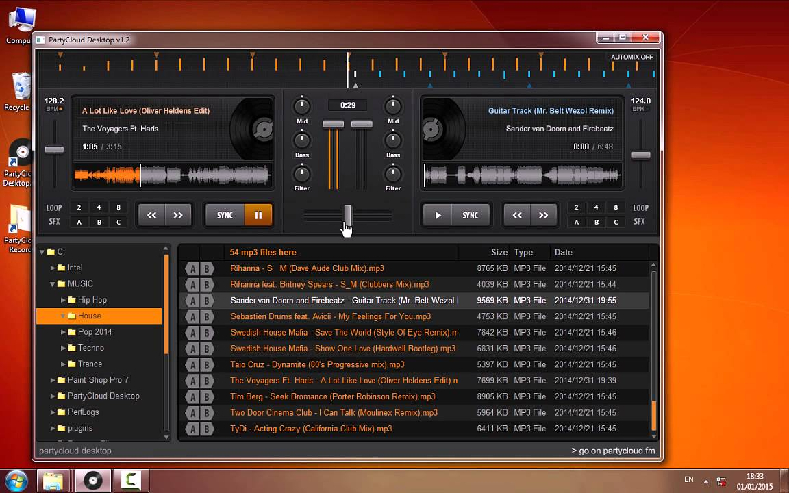 PartyCloud Desktop - DJ your mp3 files, save your mix, offline!