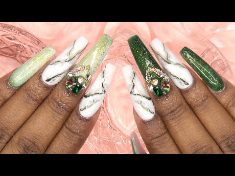 Acrylic Nails Emerald Green Matte Marble Nails Madam Glam Color Change Gel - LongHairPrettyNails
