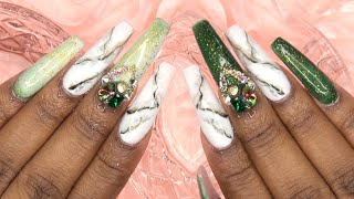 Emerald Green Matte Marble Nails | Madam Glam Color Change Gel Polish | LongHairPrettyNails