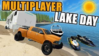 FARMING SIMULATOR 2017 | JET SKI RACING WITH THE SEADOO & MULTIPLAYER CAMPING | LIVE STREAM