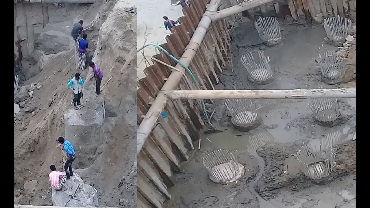 Padma Bridge Pile Head Breaking Manual Process By Labour