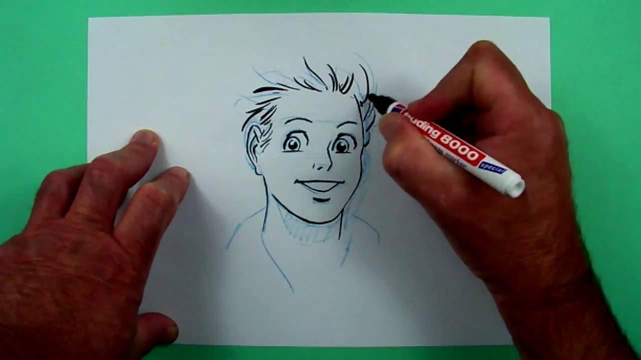 Wie Zeichnet Man Den Kopf Eines Süssen Jungen Zeichnen Für Kinder