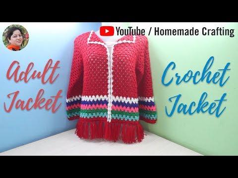 [Crochet] New Design Adult Jacket / Cardigan | नई डिजाइन की जैकेट - by Arti Singh