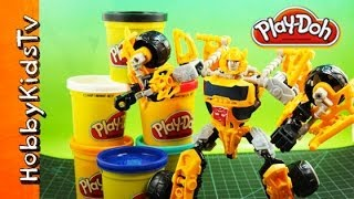 Play-doh Bumble Bee Transformers Box Open Build Megatron Construct Transformer Bots Hobbykidstv