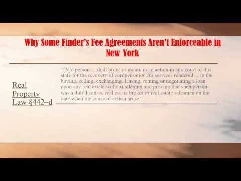 Why Some Finder's Fee Agreements Aren't Enforceable in NY