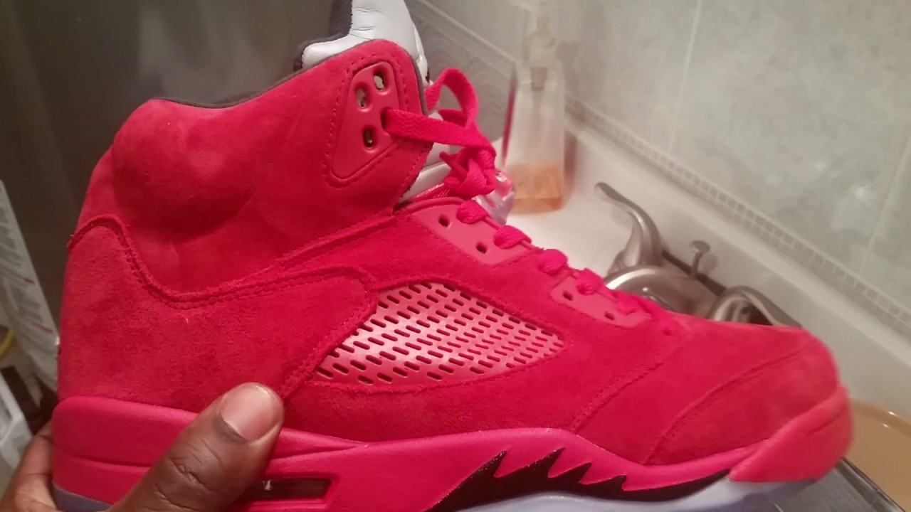 30a2bde5b74486 Dhgate jordan 5 red suede - YouTube