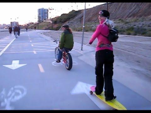Fun Skateboard Tow in Long Beach - Girl Skater