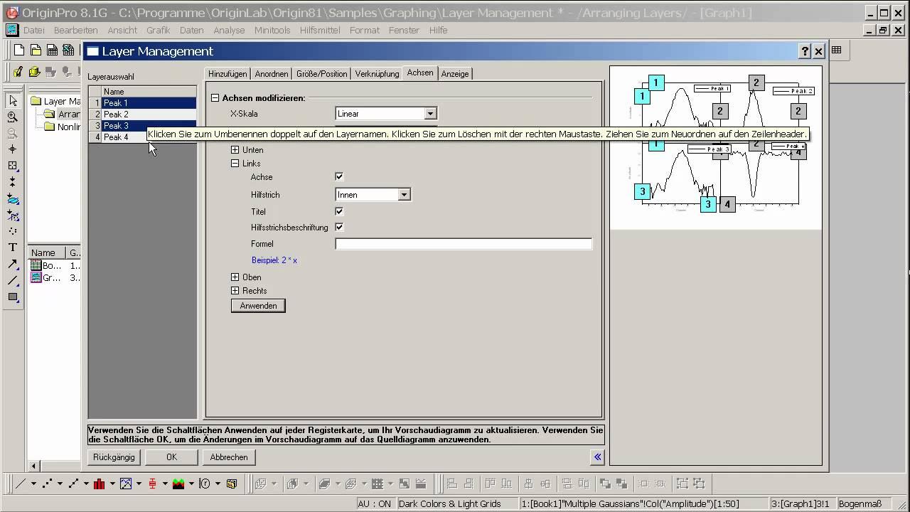 OriginLab® Origin: Zusammenfügen und Anordnen von Diagrammen Teil3 ...
