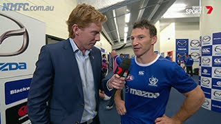 Round 5, 2015 - Pre-game in the North Melbourne rooms (Channel 7)