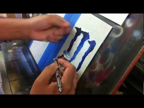 How to Airbrush the Monster energy logo Part 2