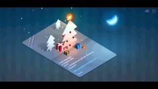 Tarjeta de Navidad con musica, arbol y regalos, online