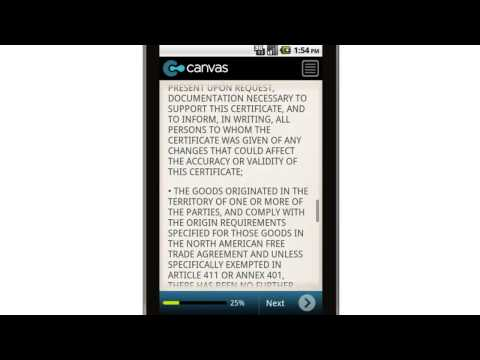 Canvas CBP Form 434   North American Free Trade Agreement Mobile App
