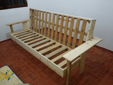 Sofa cama de madeira - YouTube